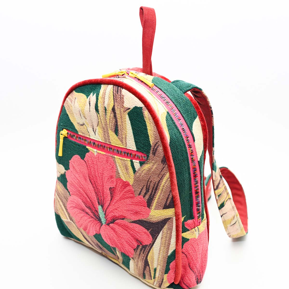 backpack hibiscus on green