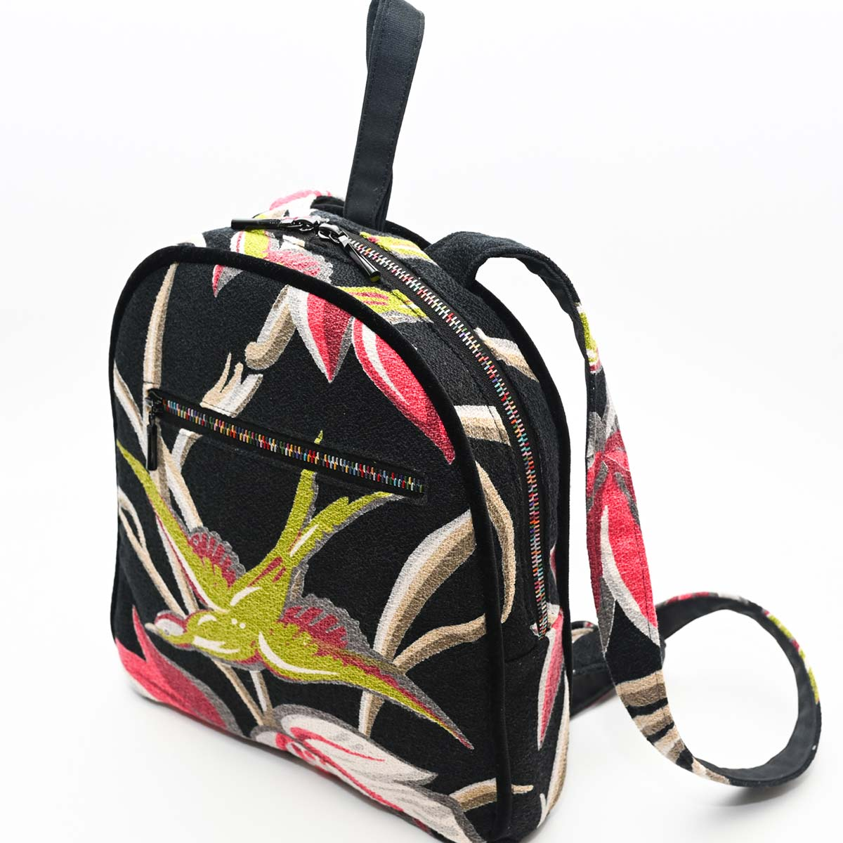backpack palm bird motif pn black DSC 6420