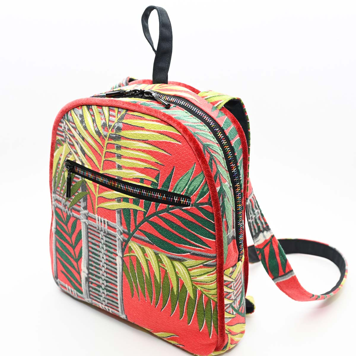 backpack palm leaves on tangerine