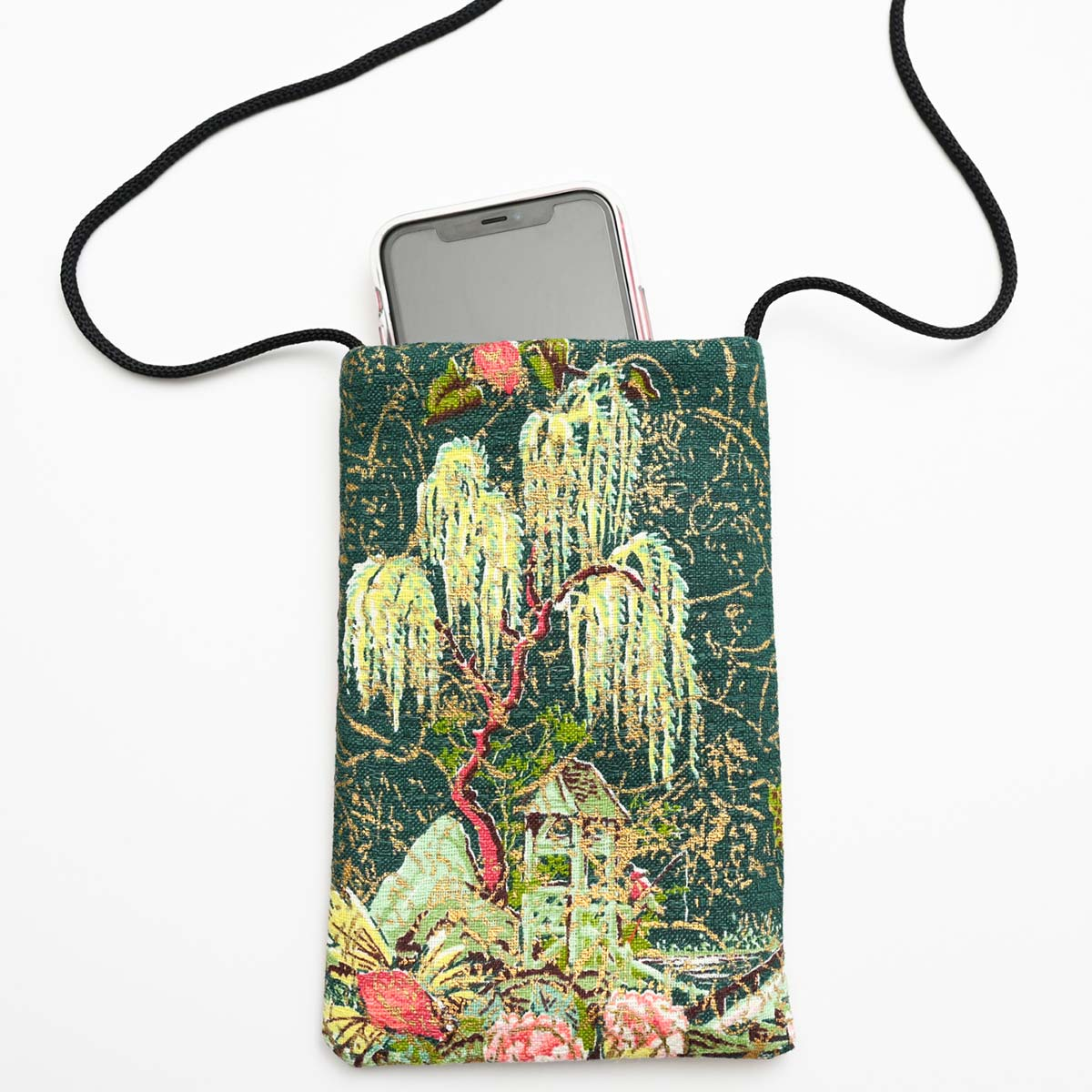 cellphone bag asian motif on green