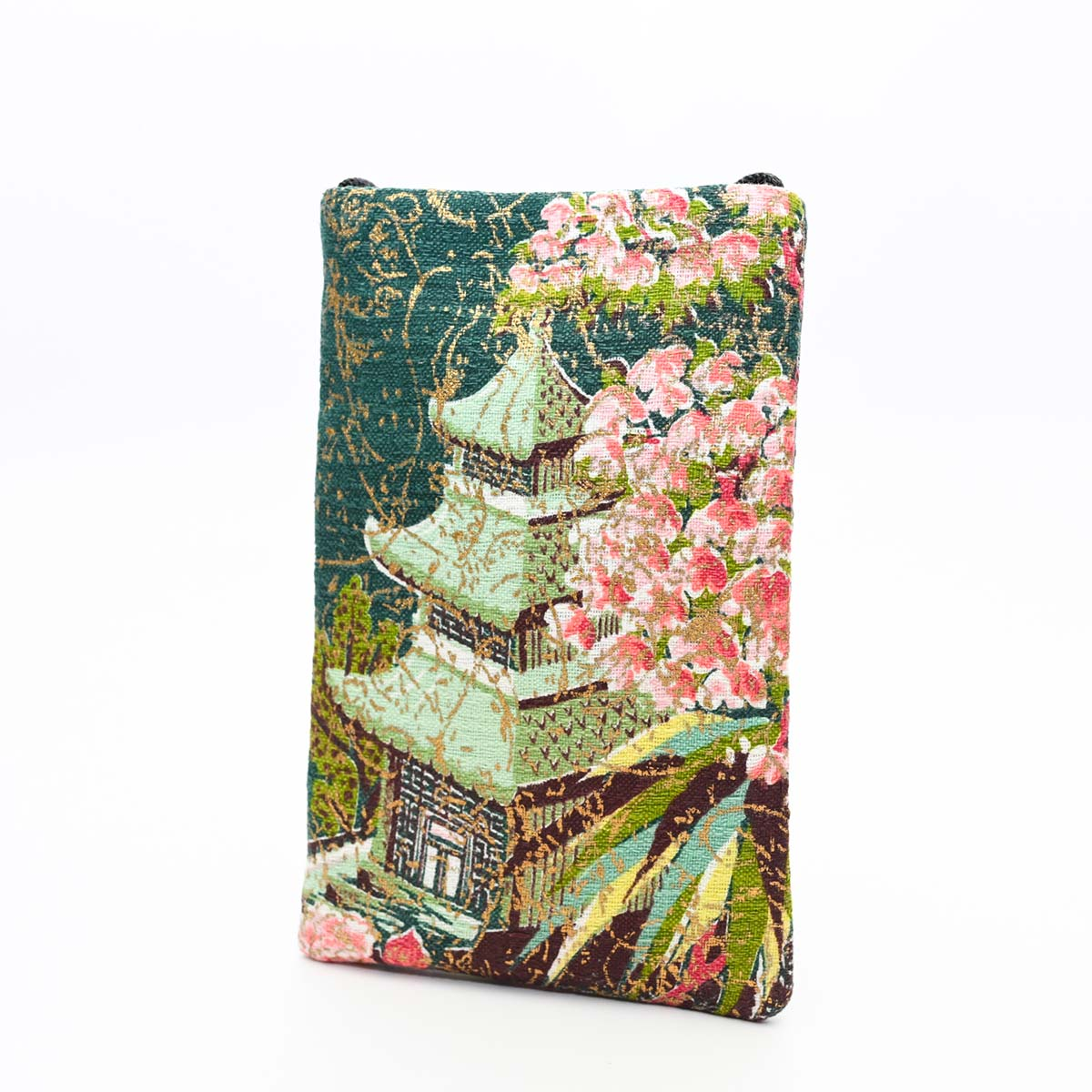Cell Phone bag asian motif on green