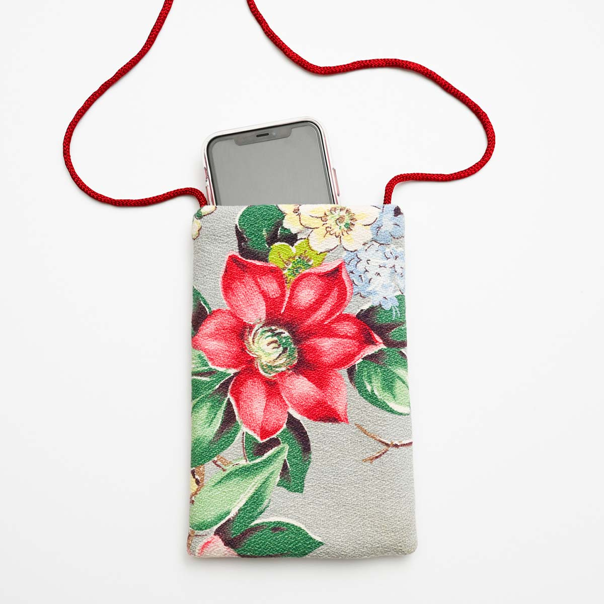 Cell Phone bag magnolia on gray