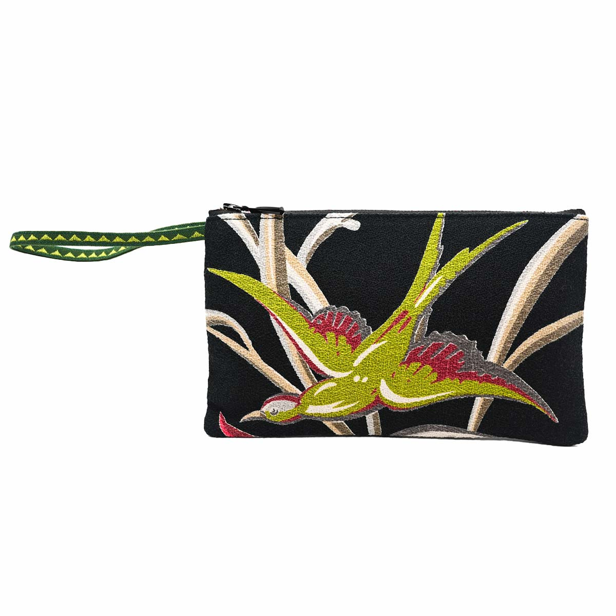clutch bag bird motif mid century modern on black
