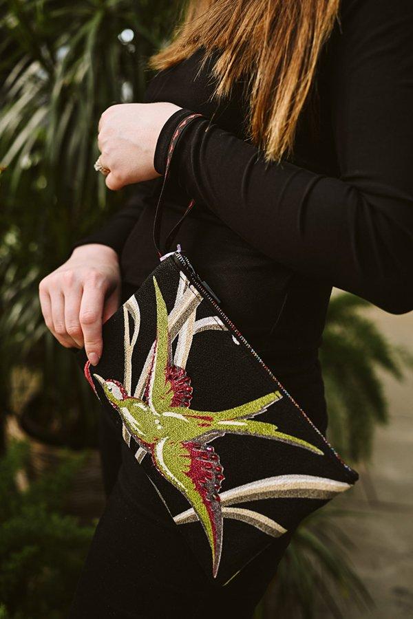 clutch bag handbeaded bird motif bellflowers on black
