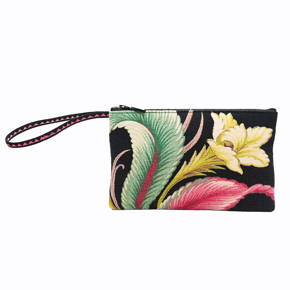clutch bag tropical flower leaf on black