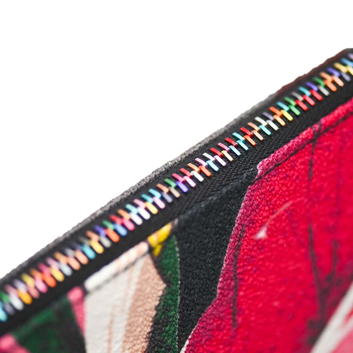 clutch bag tropical leaf motif on black DSC 6205