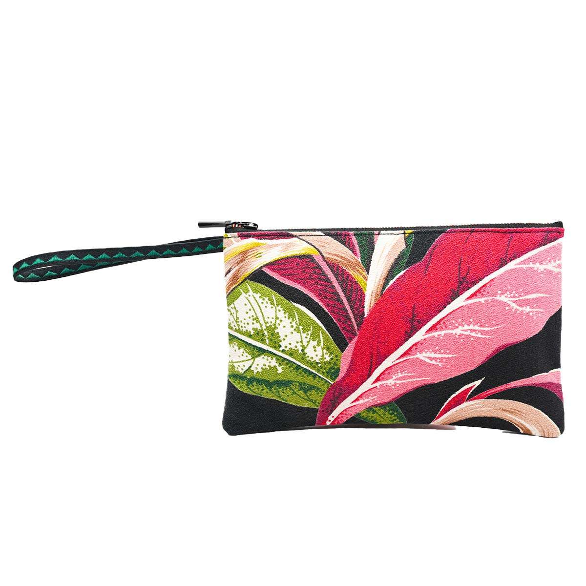clutch bag tropical leaf motif on black