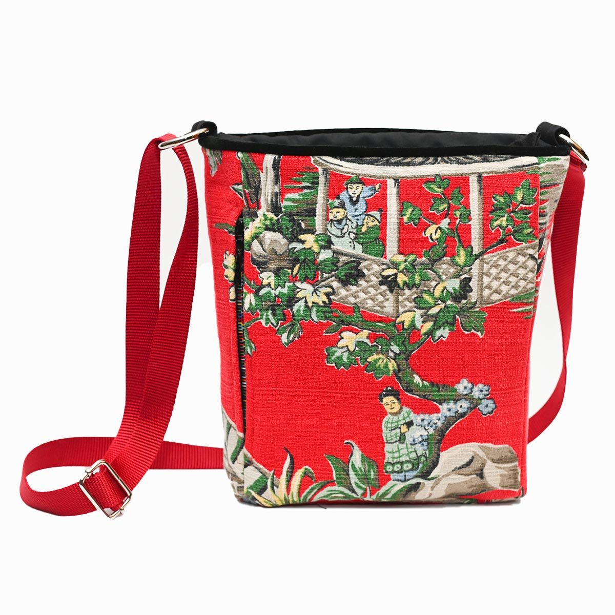 crossbody bag asian motif on cherry red DSC 6529
