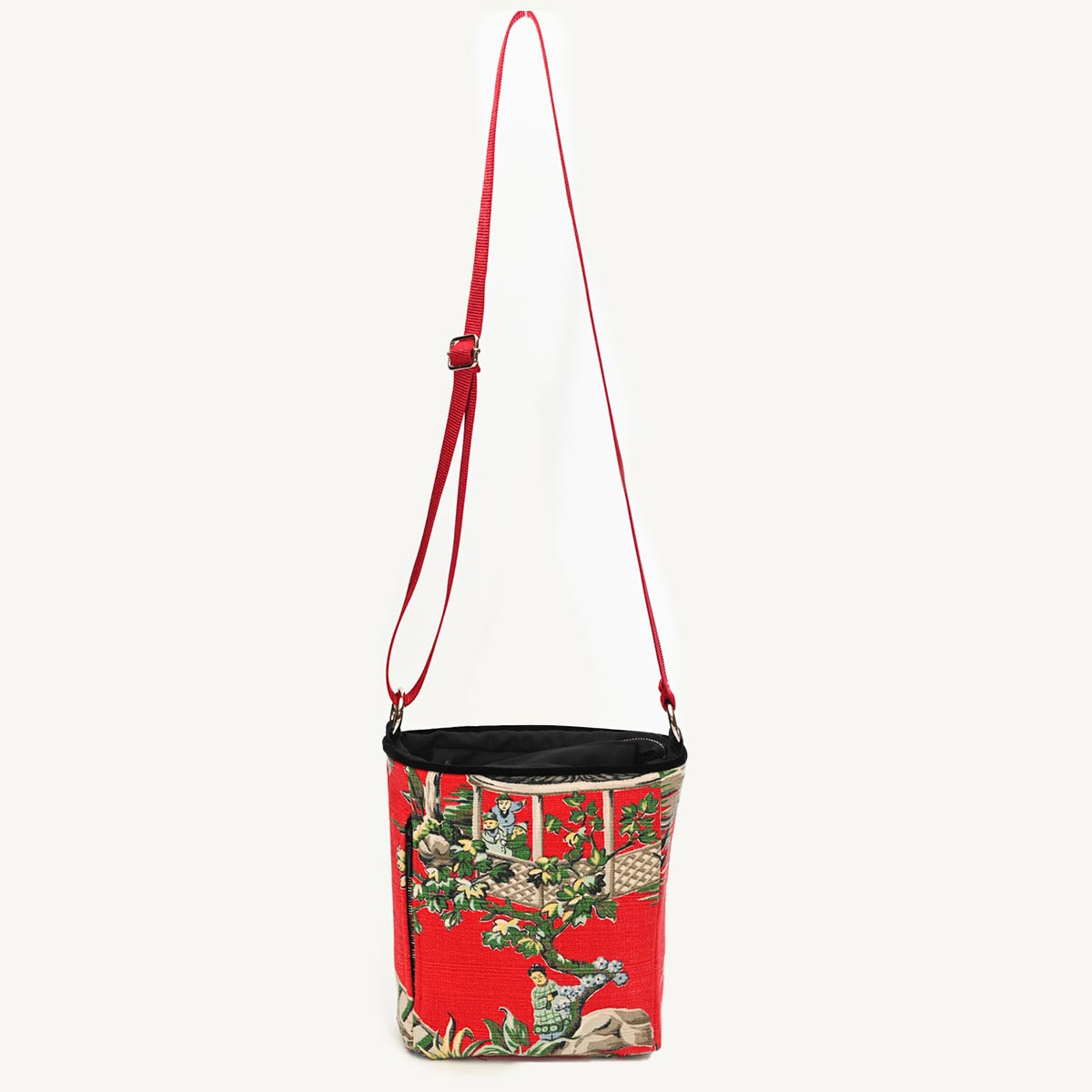 crossbody bag asian motif on cherry red