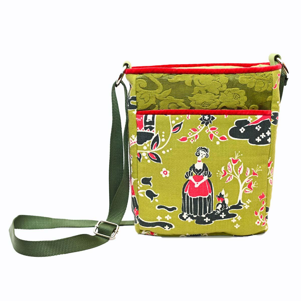 crossbody bag art folk motif on avocado