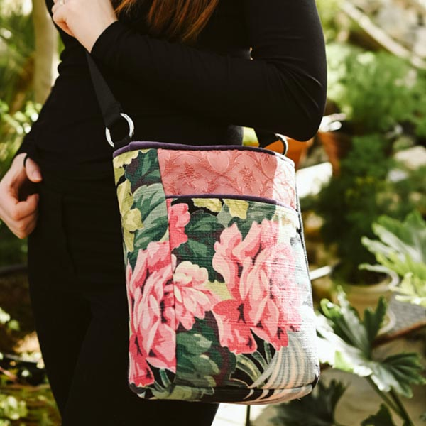 crossbody bag peonies on black