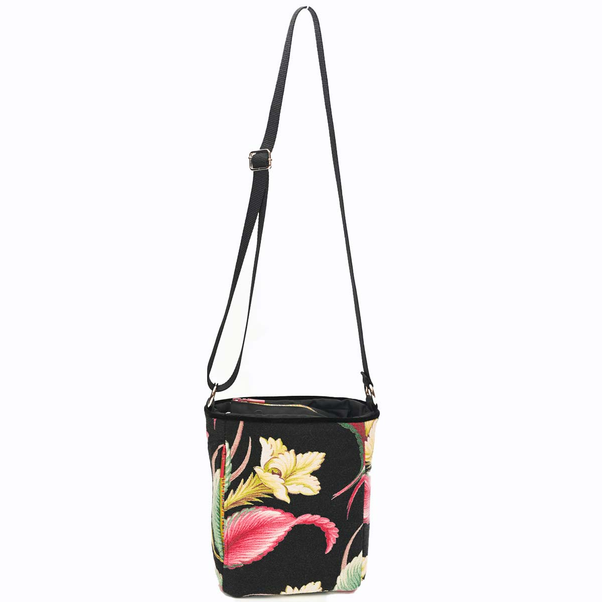 crossbody bag tropical motif on black