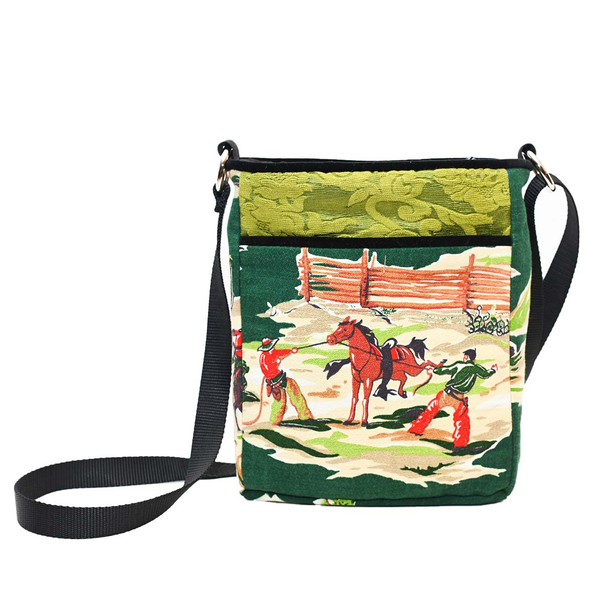 crossbody bag western motif on green