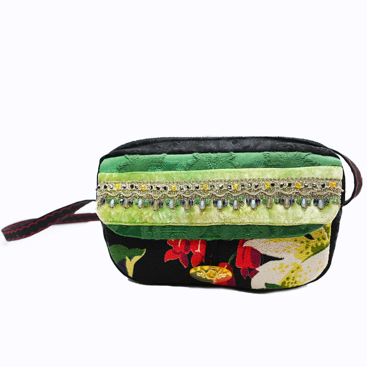 cruise bag Hand Beaded bellflower green