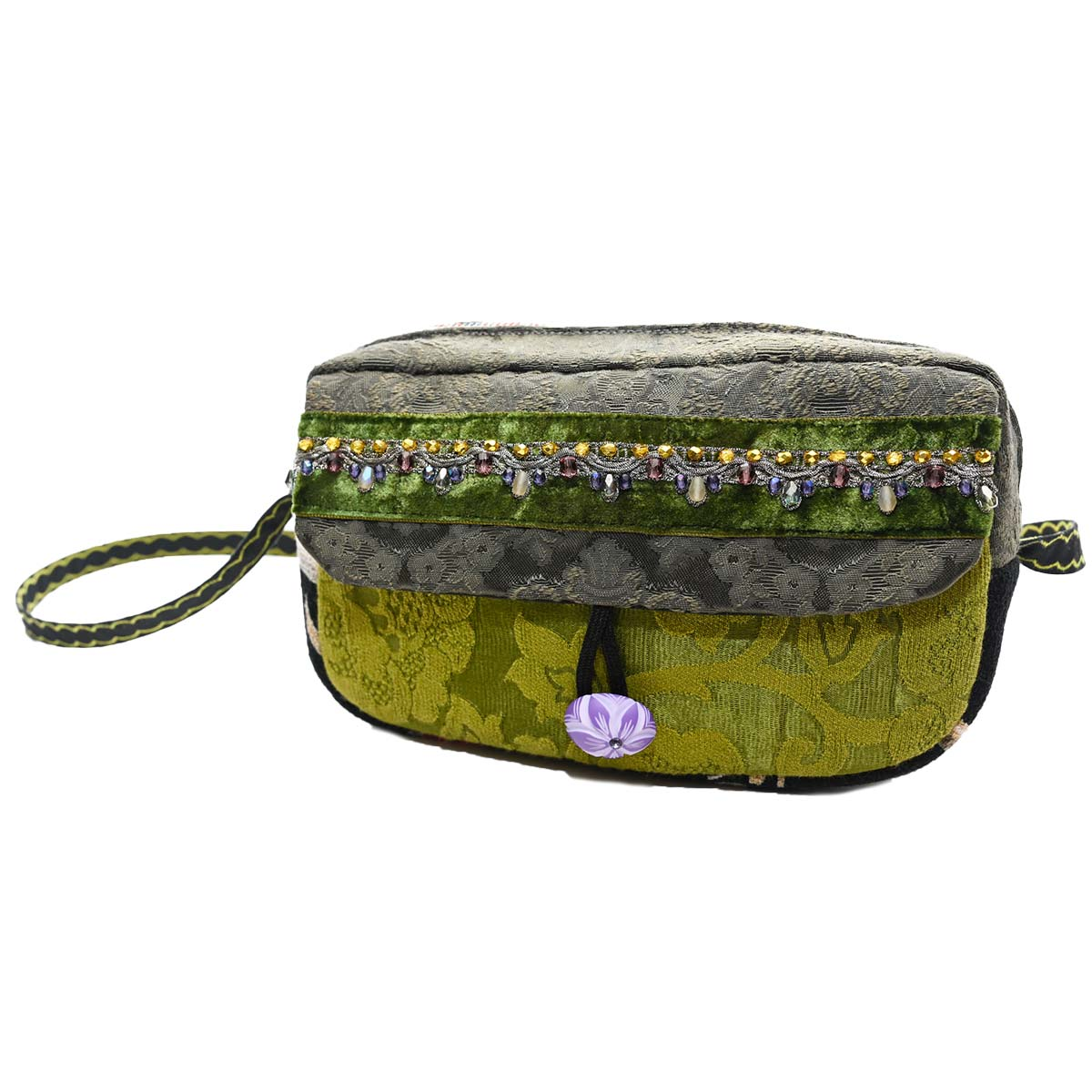 cruise bag hand beaded charcoal moss
