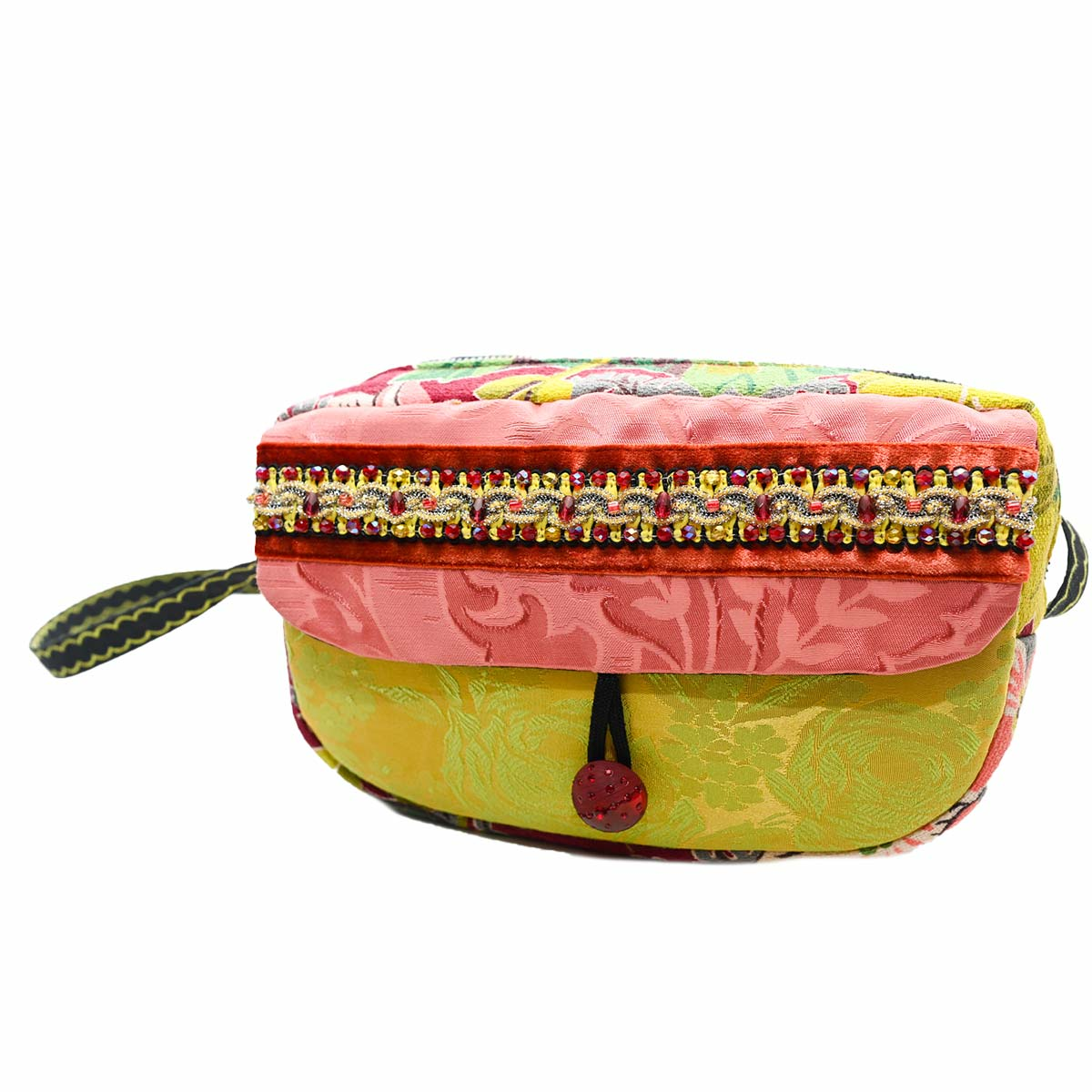 cruise bag Hand Beaded salmon lime green