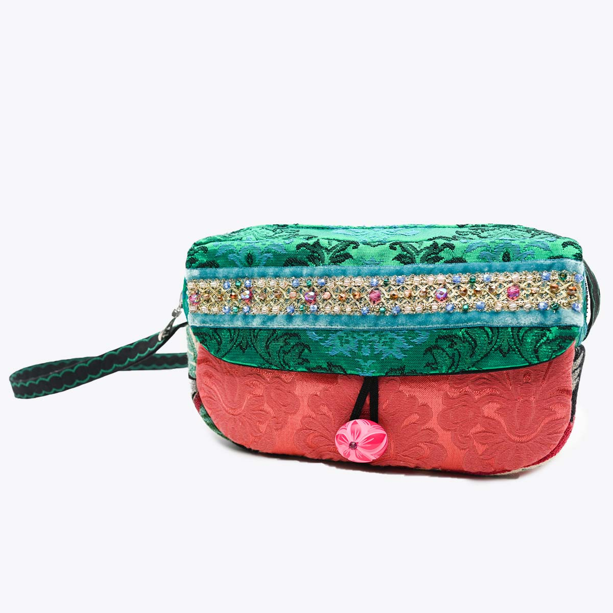 cruise bag Hand Beaded teal pink