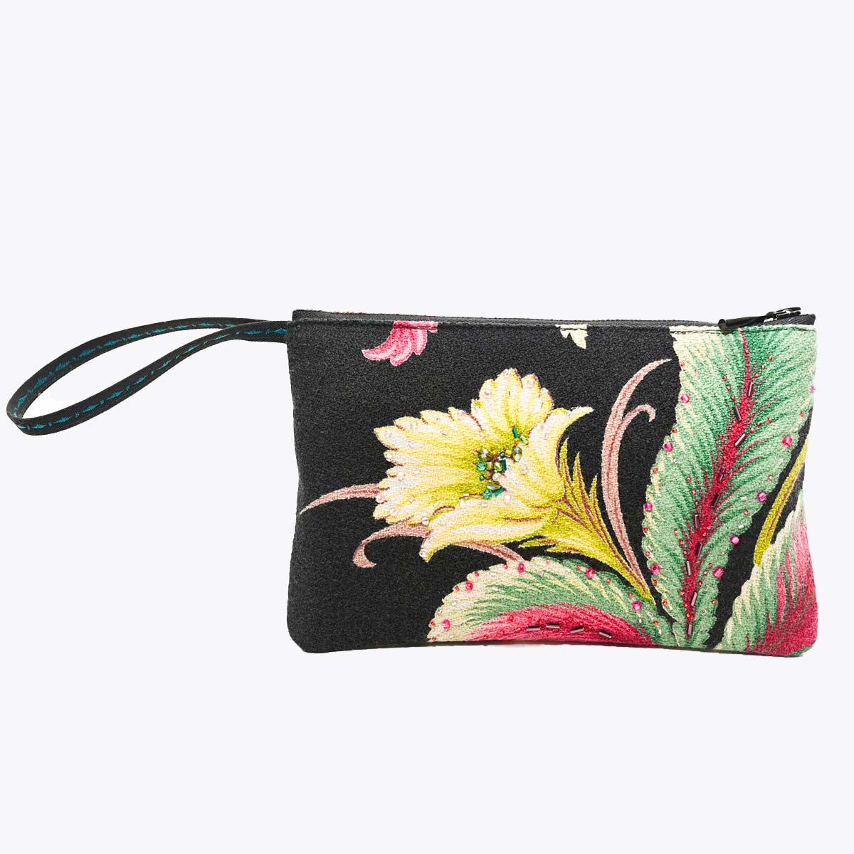 hand beaded clutch tropical flower on black