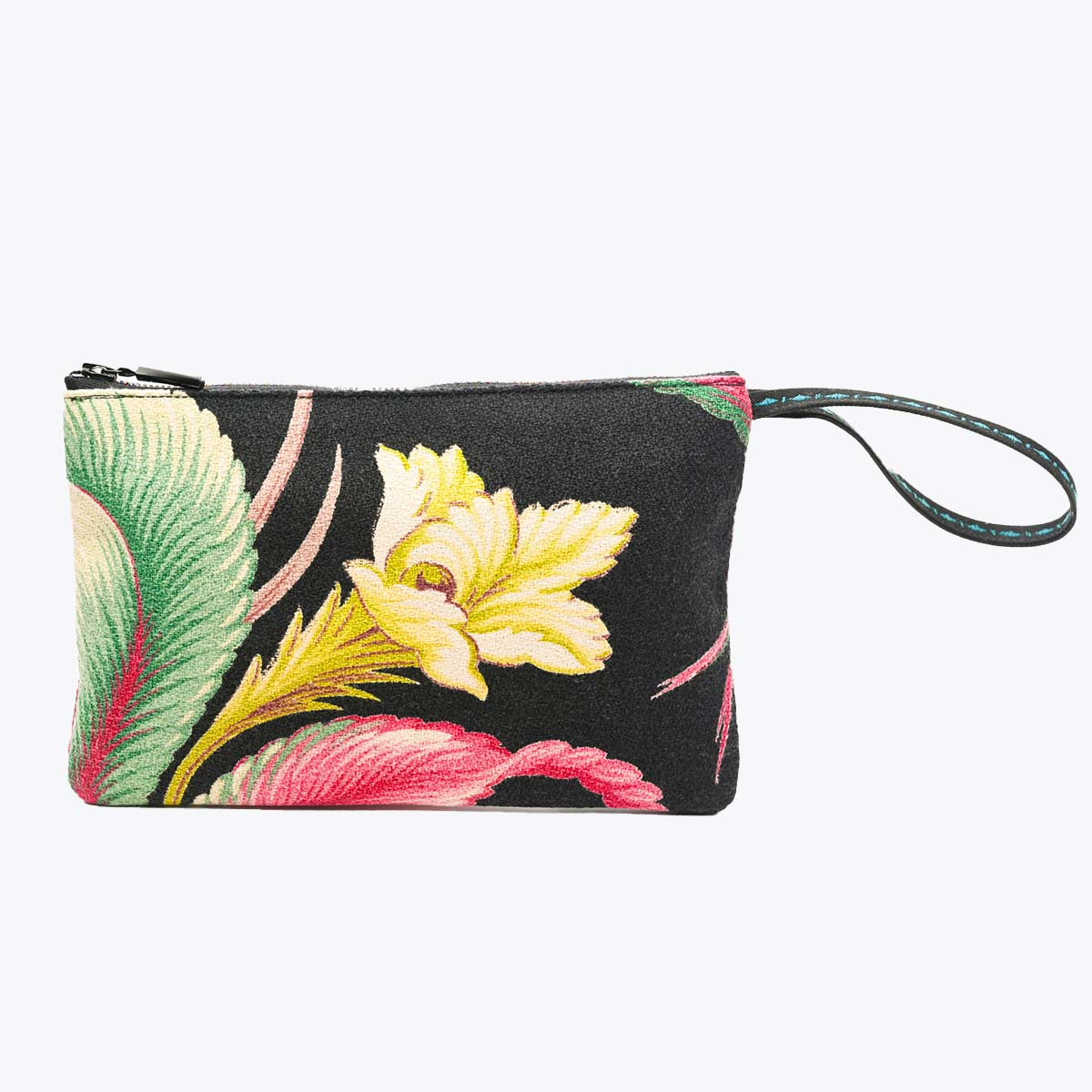 handbeaded clutch tropical flower on black DSC 6191