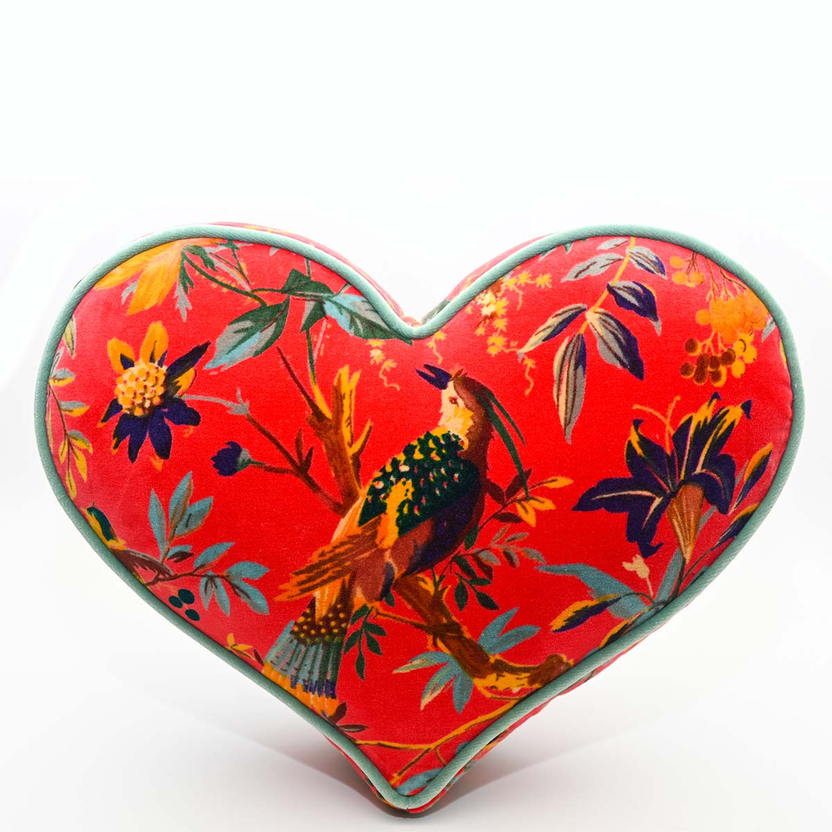 Large Heart Pillow – Bird Motif on Red