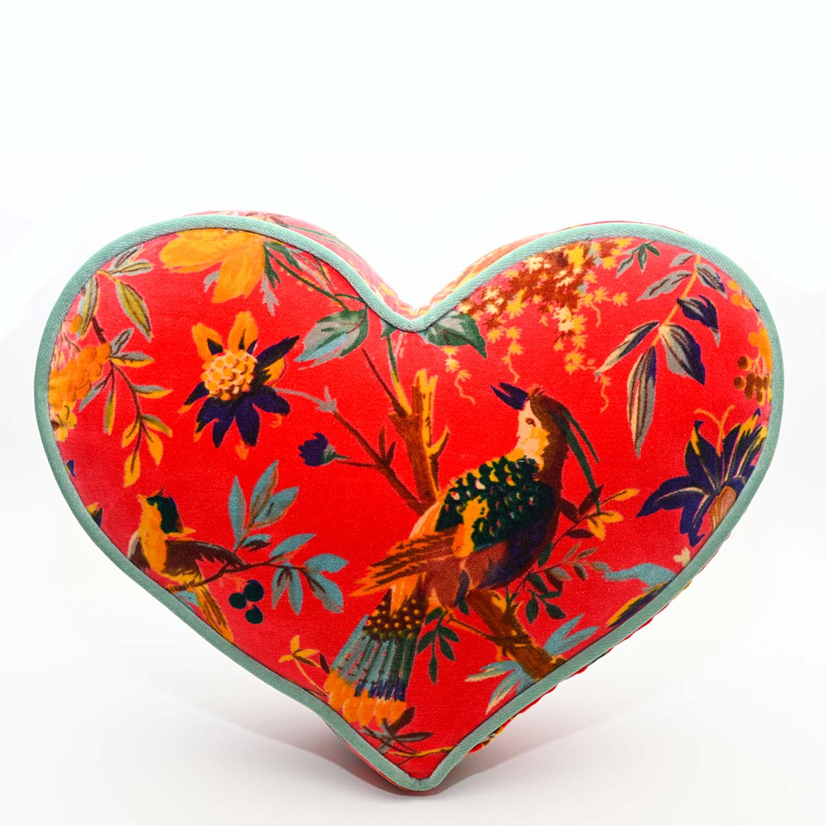 heart pillow large size bird motif onred DSC 6326