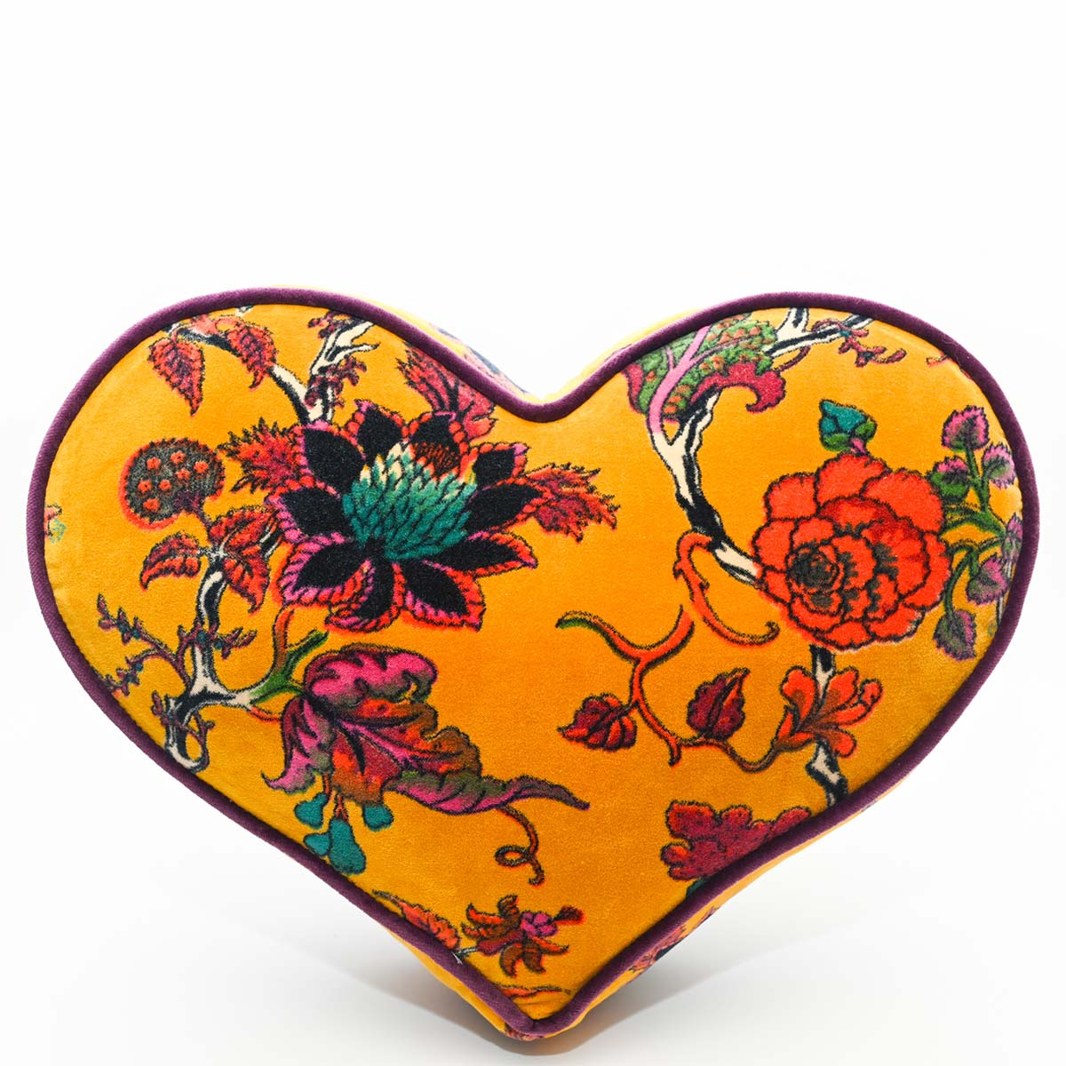 Large Heart Pillow – Floral on Curry