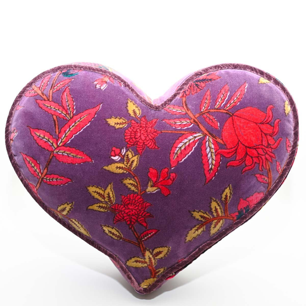 heart pillow large size floral on eggplant