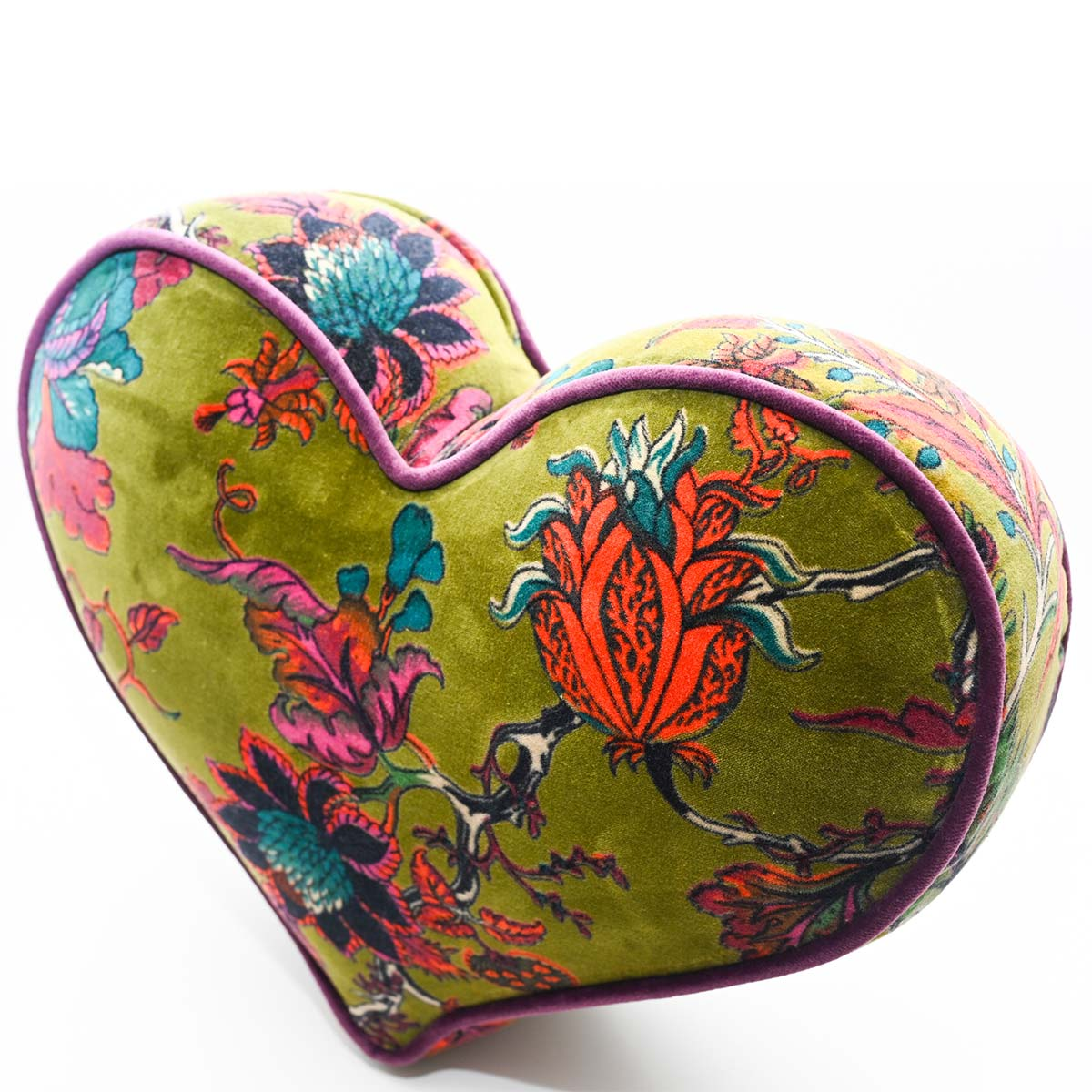 heart pillow large size olive green DSC 6348