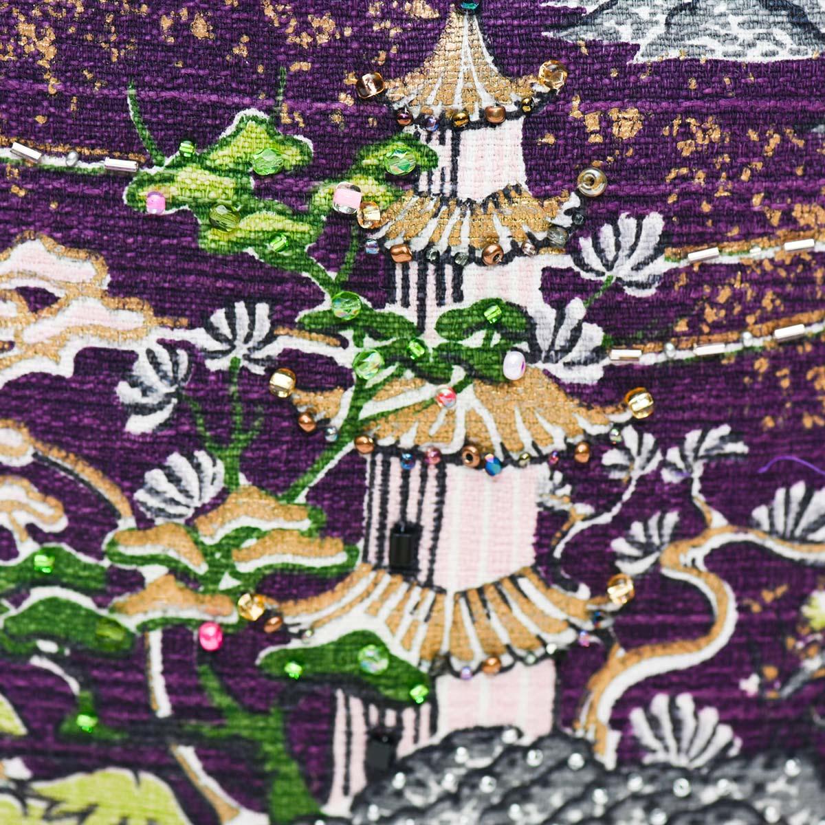 med square handbeaded asian motif on eggplant