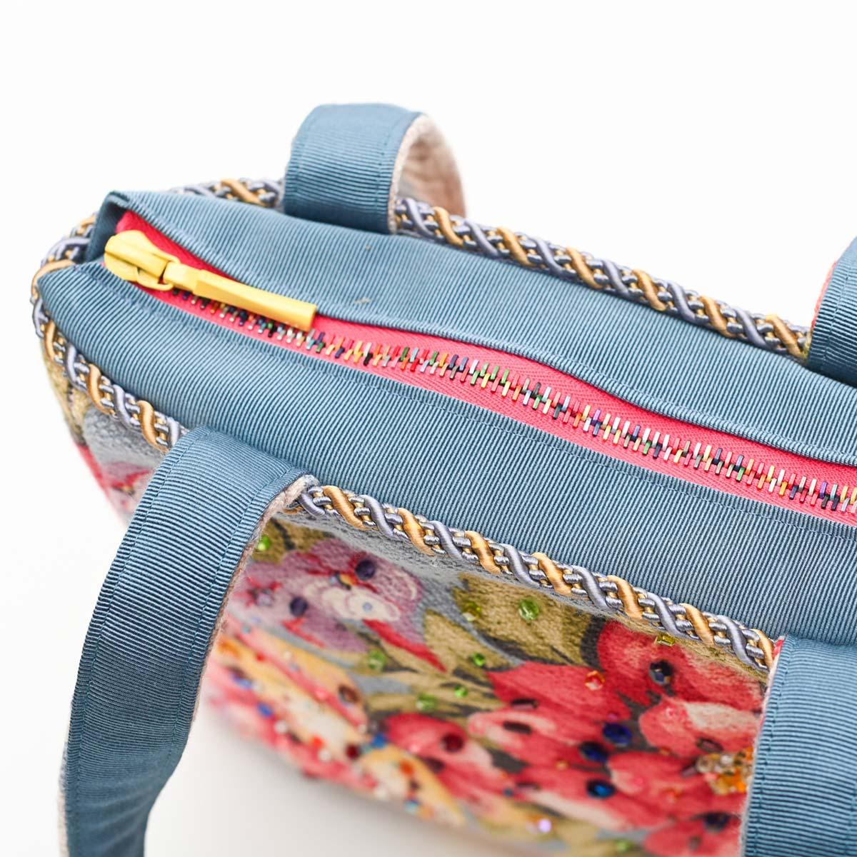 med square handbeaded spring floral on blue DSC 6635