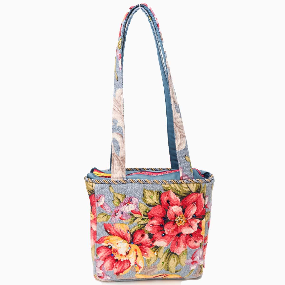 med square handbeaded spring floral on blue DSC 6636