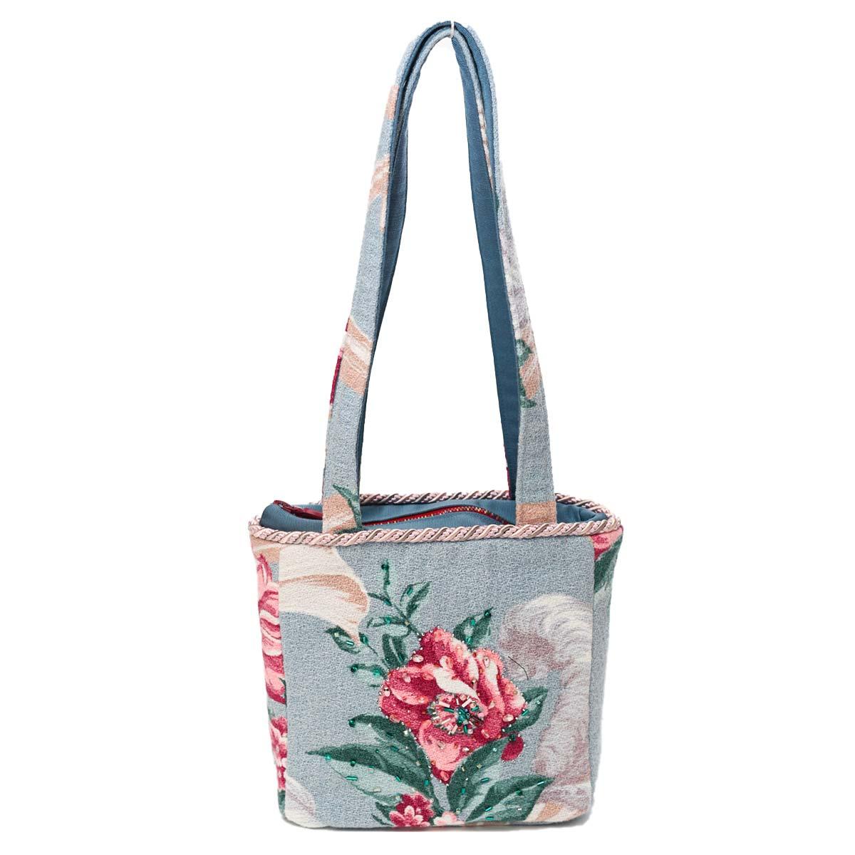 Medium Square Hand-Beaded Bag – Tea Rose on Blue