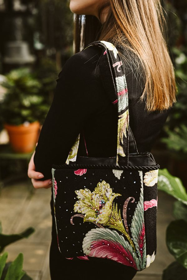 medium square bag handbeaded tropical motif on black e1585325627277