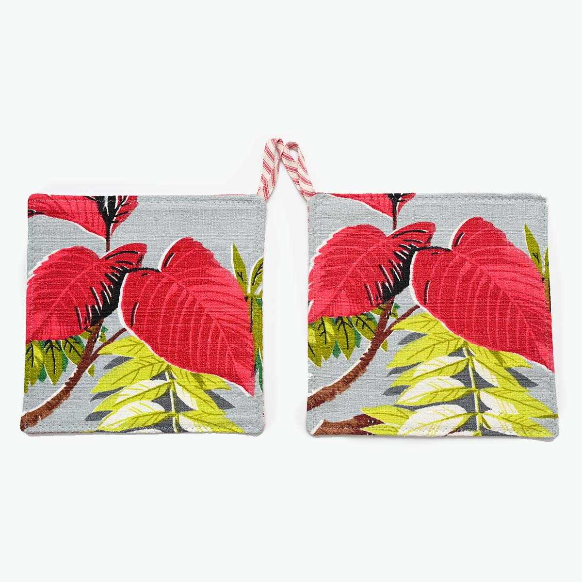 Potholders Hot Pink Leaves