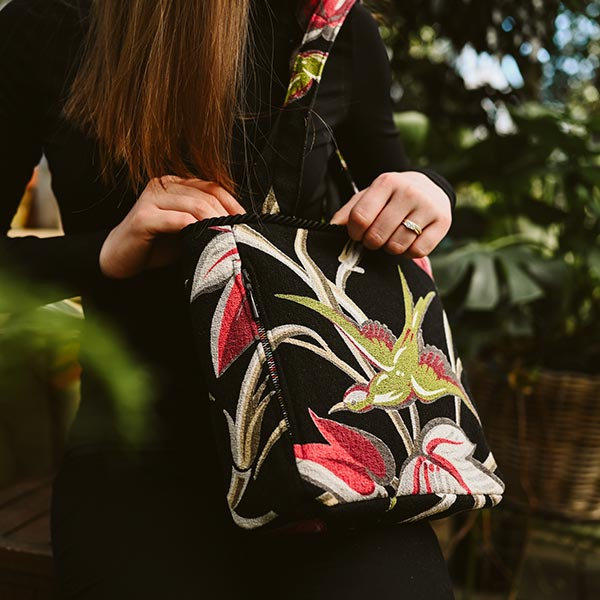 square bag bird motif