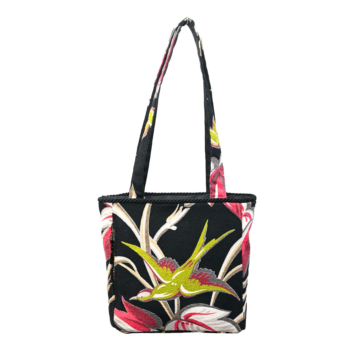 Square Bag Bird Motif on Black