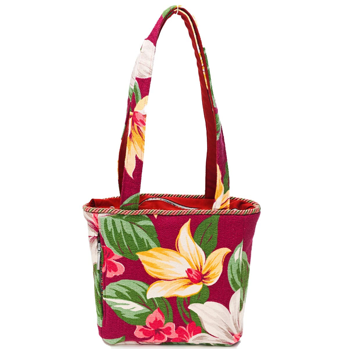 Square Bag Floral Motif on Burgundy