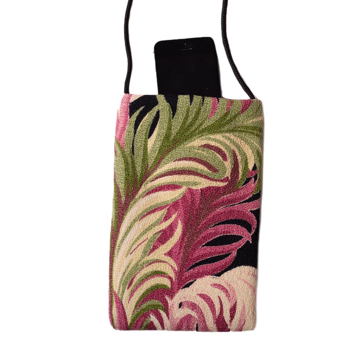 Cell Phone bag Ferns on Black I