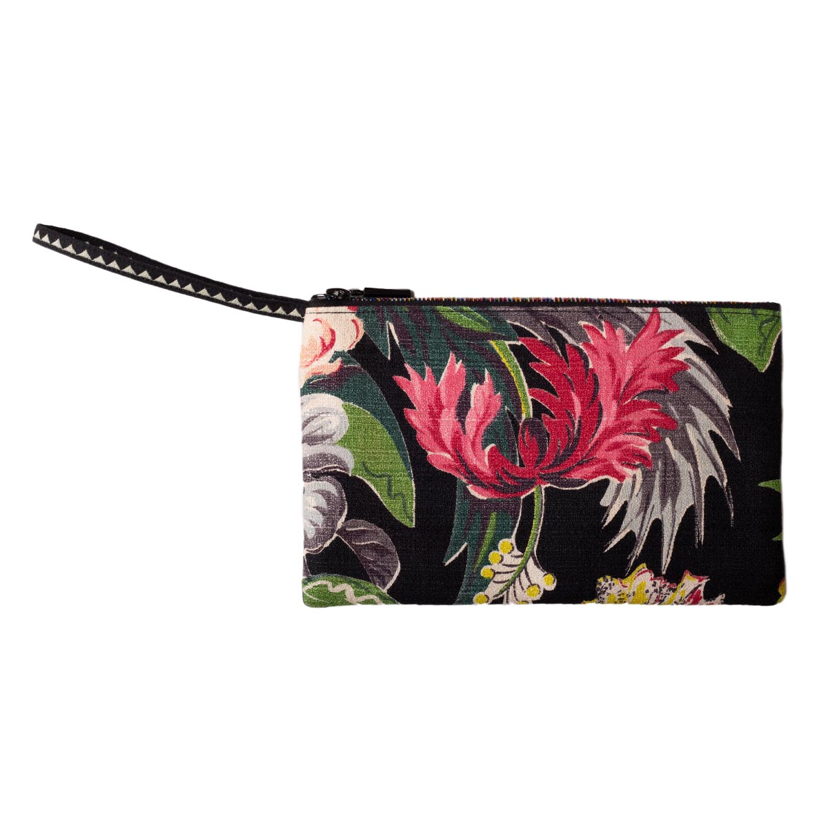 Clutch Bag Floral Motif on Black