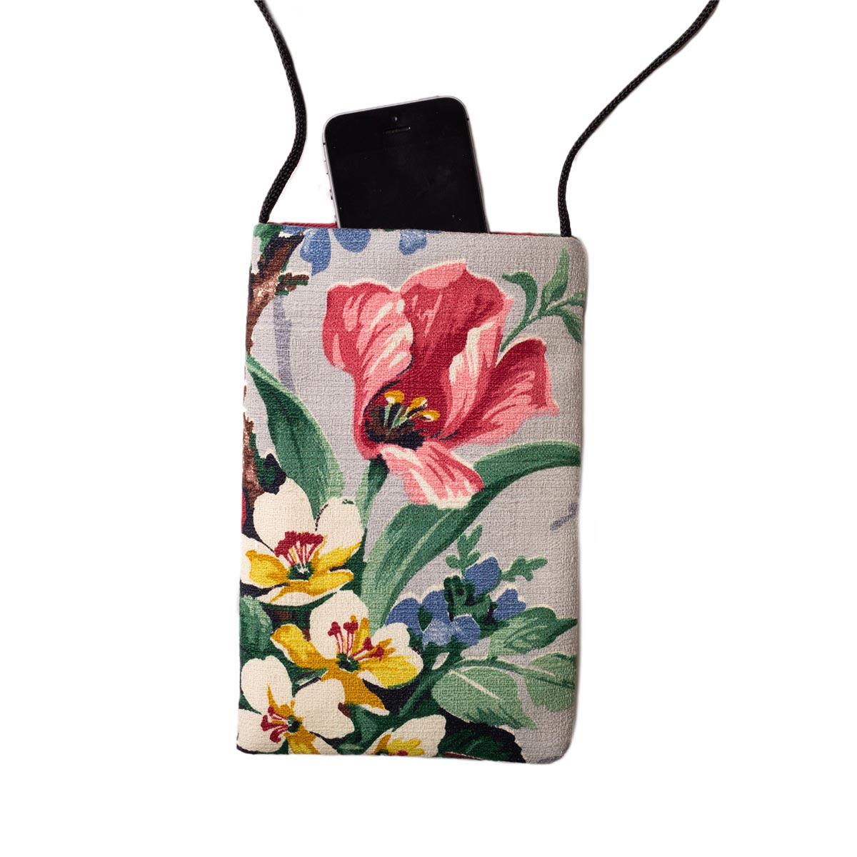 Cell Phone bag Floral Motif on Gray