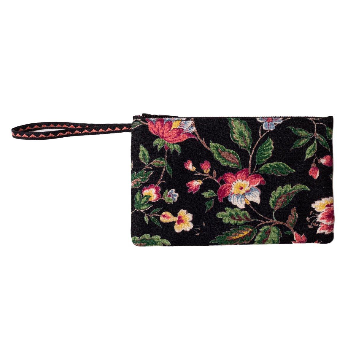 Hand Beaded Clutch Bag Sm Floral Motif on Black