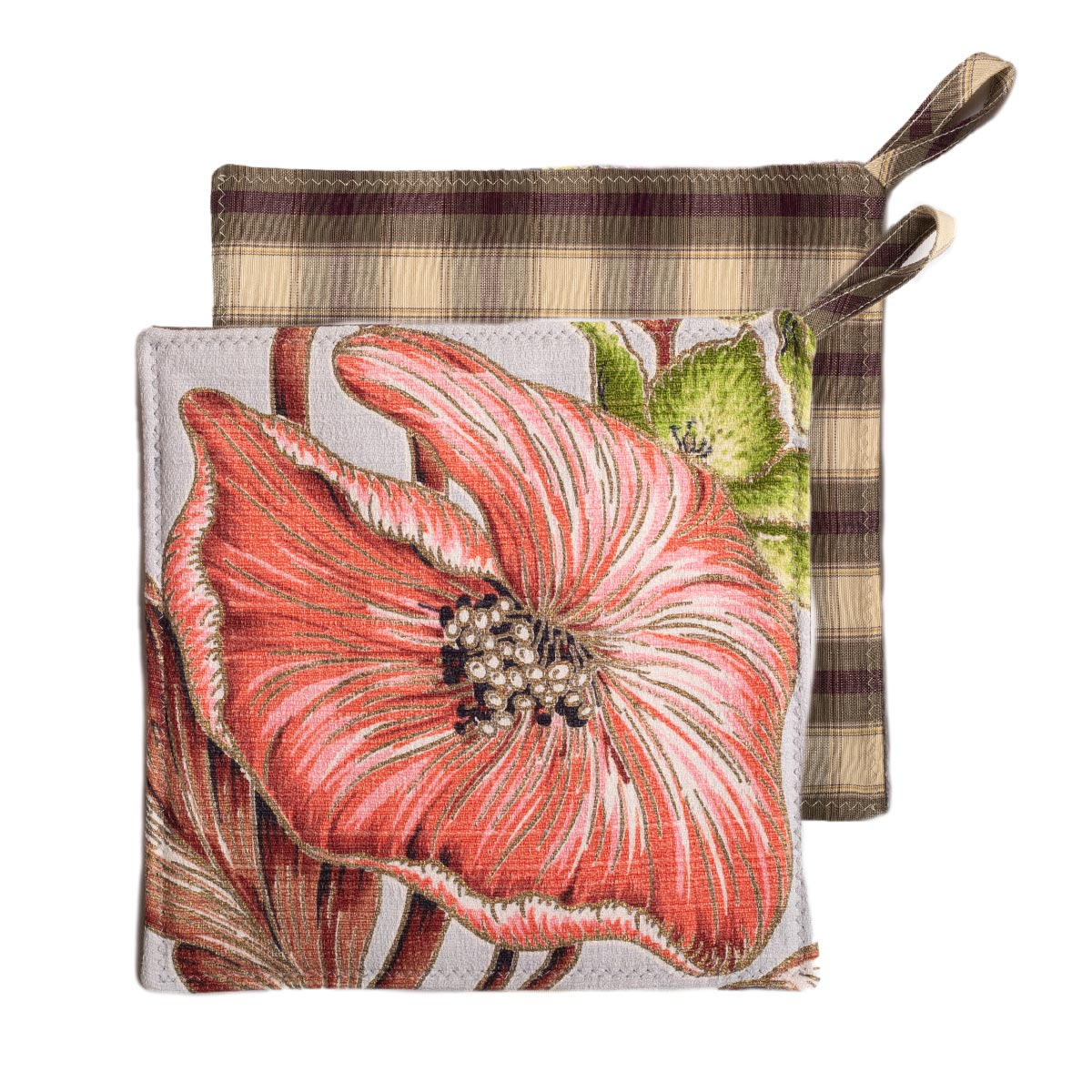 Potholders Tropical Leaf Motif