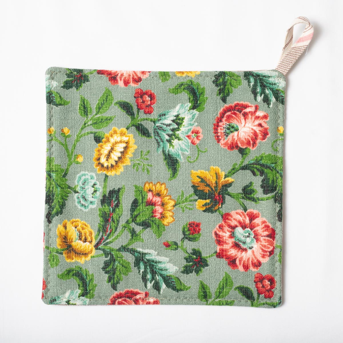 Floral Motif on Seafoam – Potholders