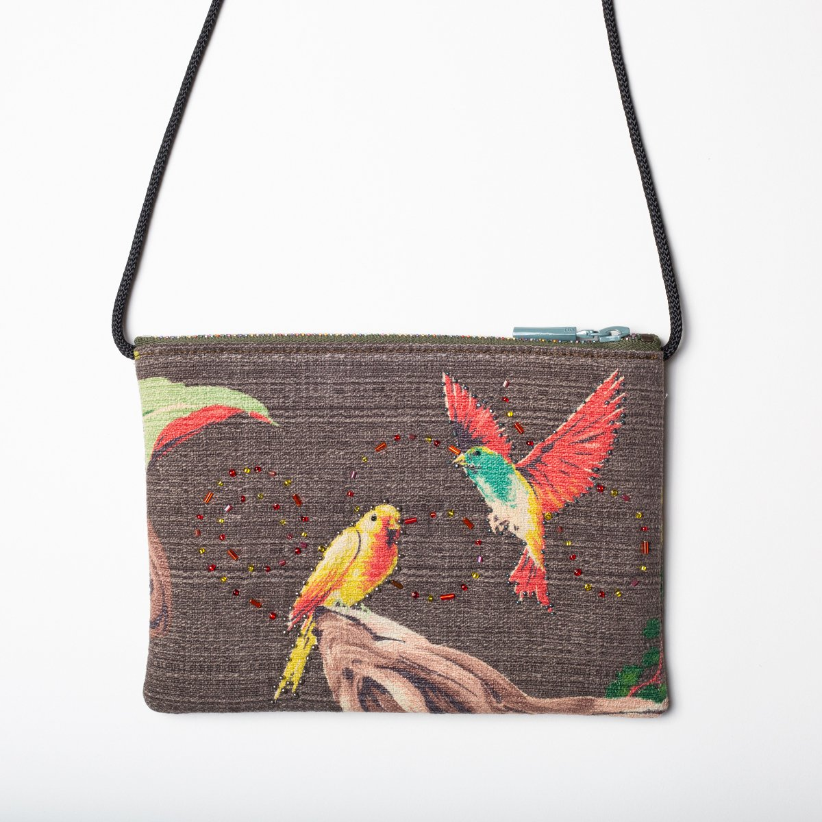 bird motif mocha vintage barkcloth bag 1