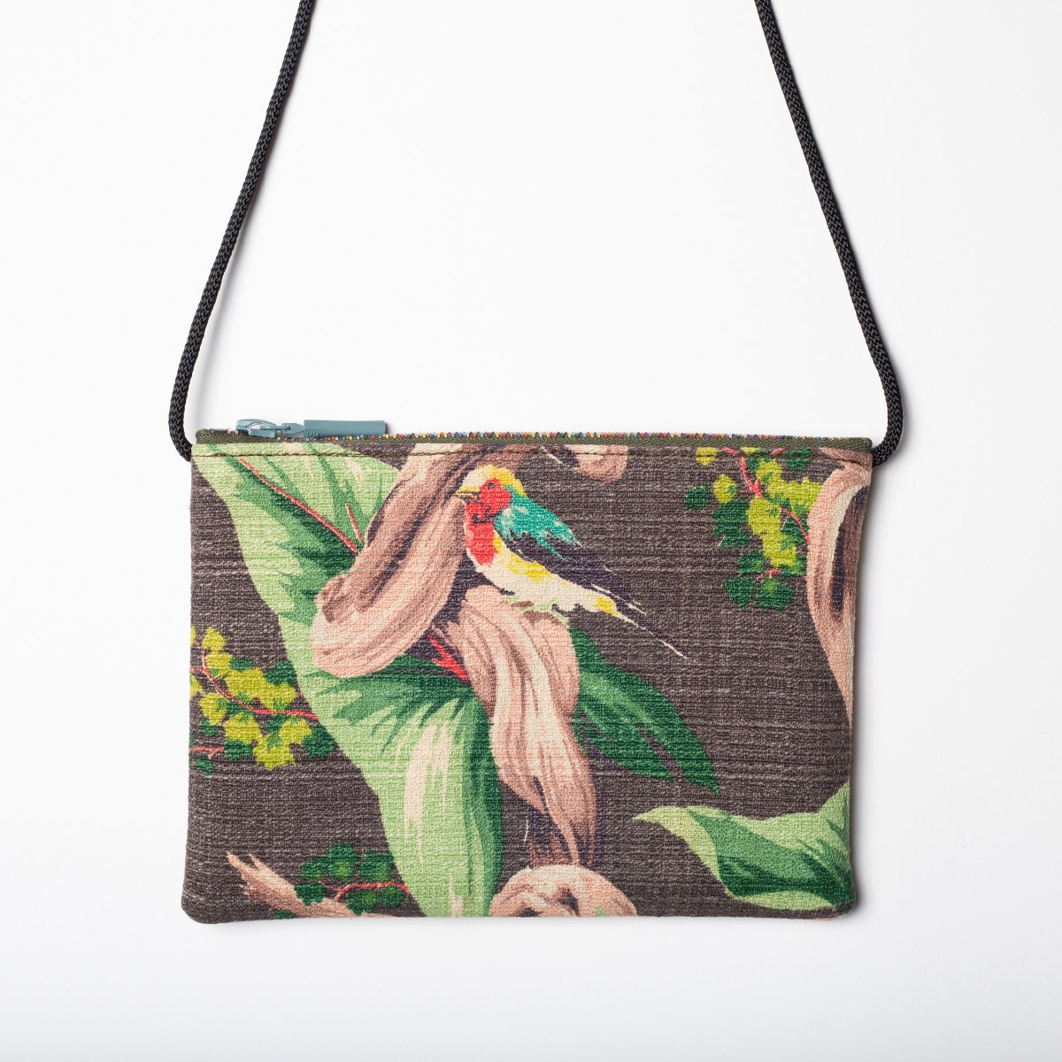 bird motif mocha vintage barkcloth bag2 1