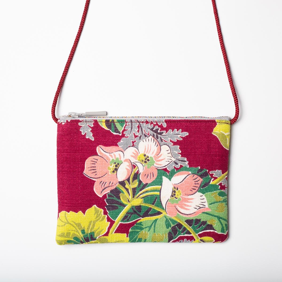 candy color floral motif vintage barkcloth bag2