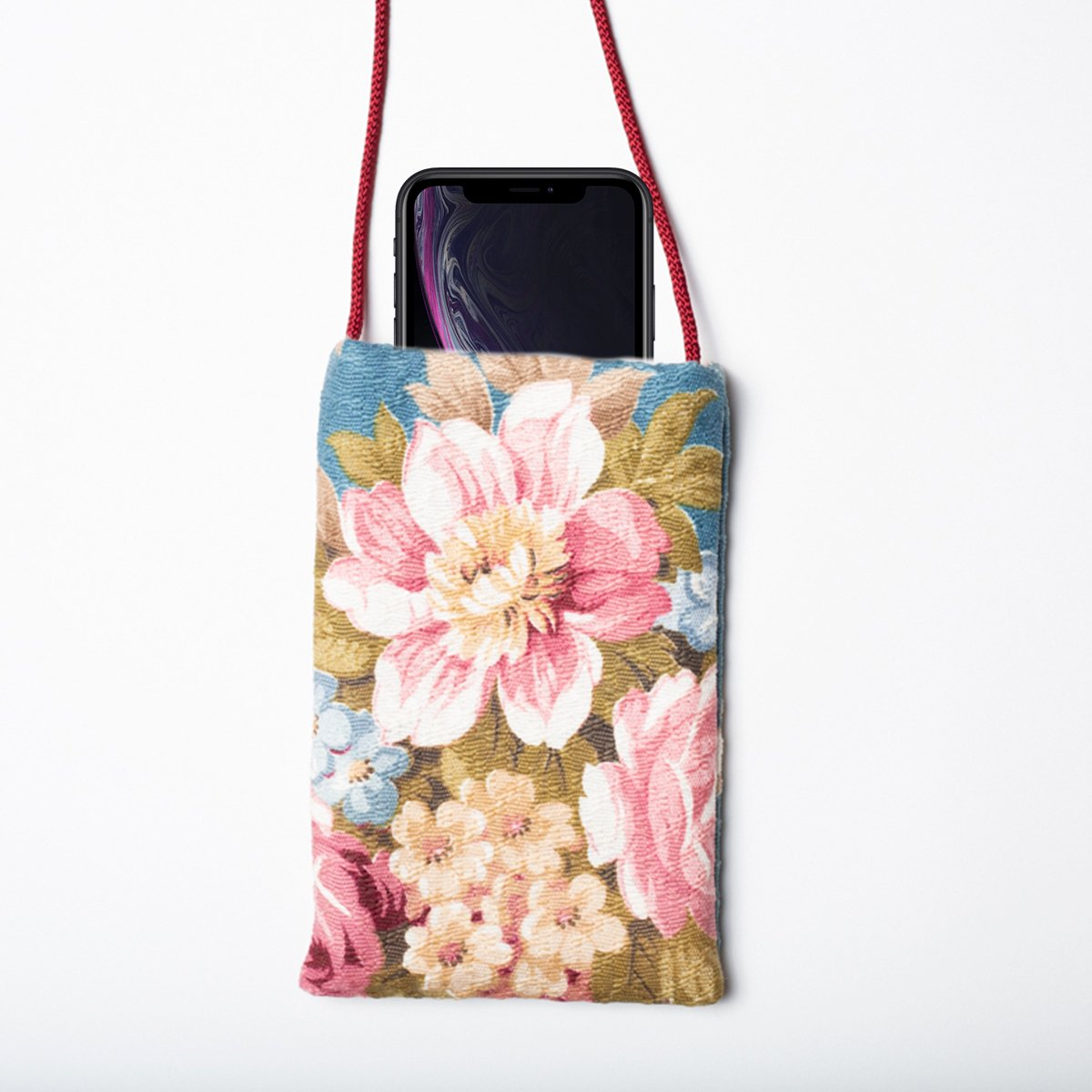 Cellphone Bag Floral Motif Teal