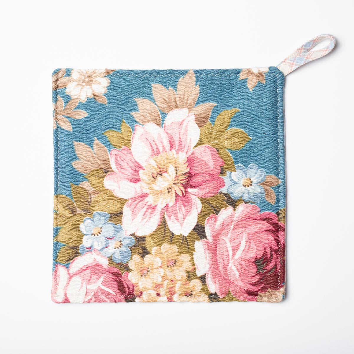 Potholders Floral Motif on Teal