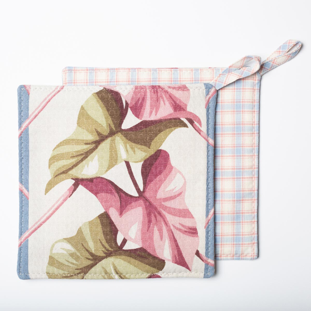 Potholders Pink and Green Leaves