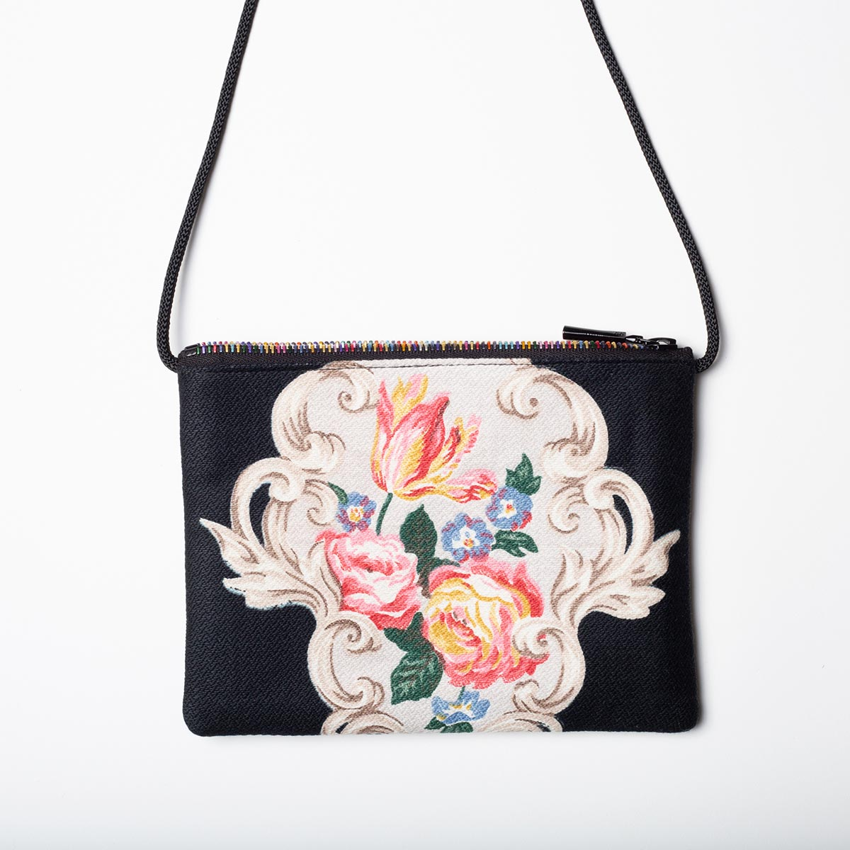 romantic floral blac vintage barkcloth bag2